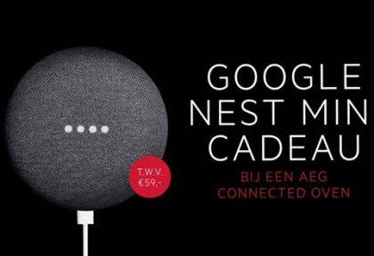 Bij aankoop van AEG Connected-oven ontvangt u een Google Nest Mini t.w.v. € 59,- cadeau!